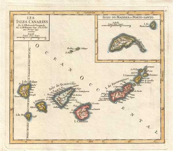 Les Isles Canaries. Par le Sr. Robert de Vaugondy Fils de Mr. Robert Geog. ord. du Roi.