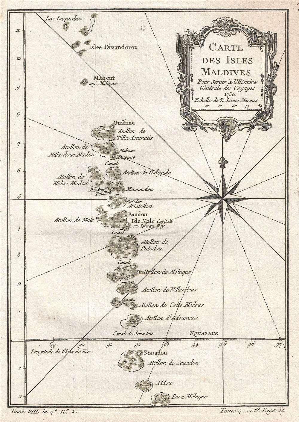 Carte des Isles Maldives. Pour Servir à l'Histoire Générale de Voyages. - Main View