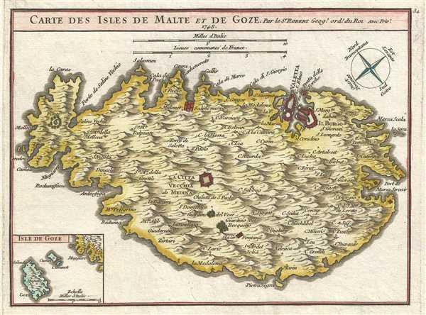 Carte des Isles de Malte et de Goze. Par le Sr. Robert Geog. Ord. du Roi.
