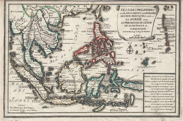 Les Isles Philippines et celles Des Larrons ou de Marianes, Les Isles Moluques et de La Sonde, avec, La Presqu'Isle de l'Inde de la le Gange ou Orientale.