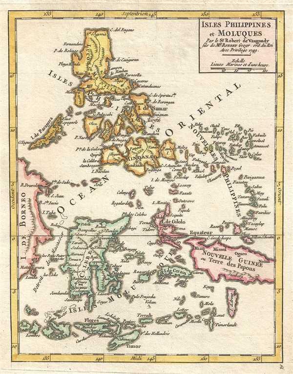 Isles Philippines et Moluques Par le Sr. Robert de Vaugondy fils de Mr. Robert Geogr. ord. du Roi.