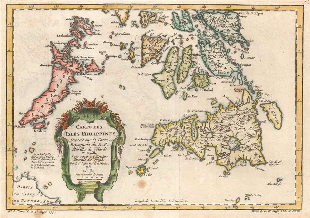 1752 Bellin Map Of The Southern Philippines Mindanao Leyte