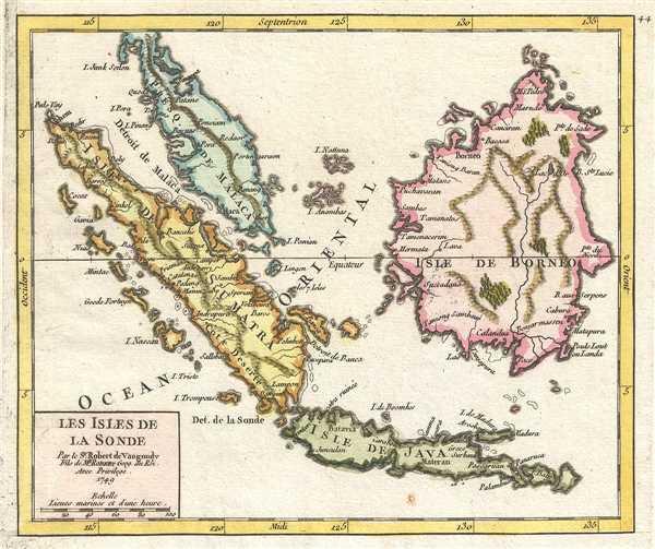Les Isles de la Sonde. Par le Sr. Robert de Vaugondy, Fils e Mr. Robert Geogr. du Roi.