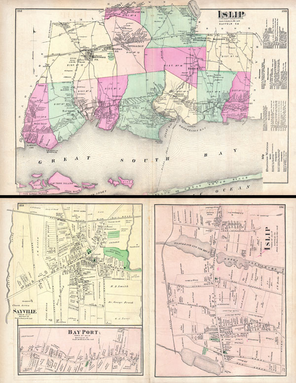 Islip, Suffolk, Co. / Islip, Town of Islip, Suffold Co. / Bay Port, Town of Islip, Suffold Co. / Sayville, Town of Islip, Suffold Co.