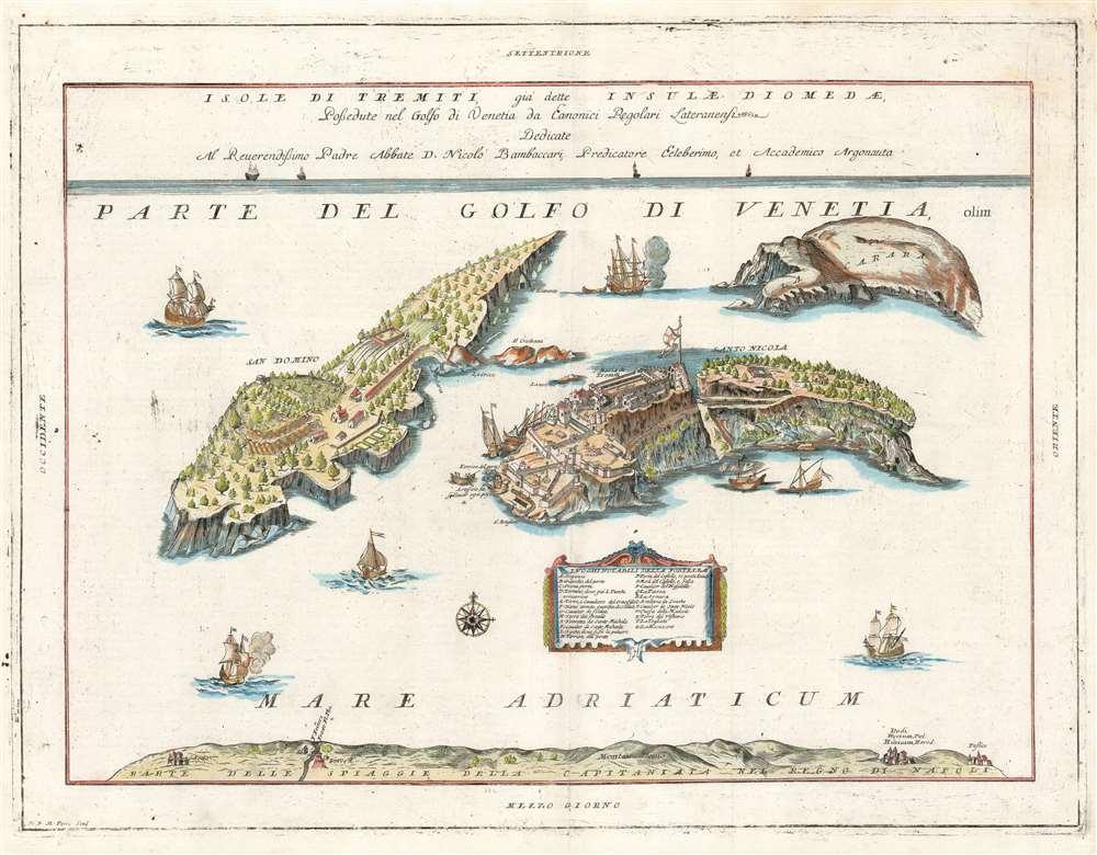 Isole di Tremiti, giá dette Insulae Dionedae, Possedute nel golfo di Venetia da Eanonici Regolari Lateranensi. - Main View