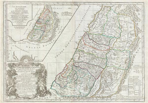 Carte de la terre des Hebreux ou Israelites partagee selon l'ordre de Dieu aux douze tribus descendantes des douze fils de Jacob…