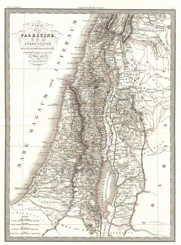 Carte de la Palestine ou Terre Sainte.