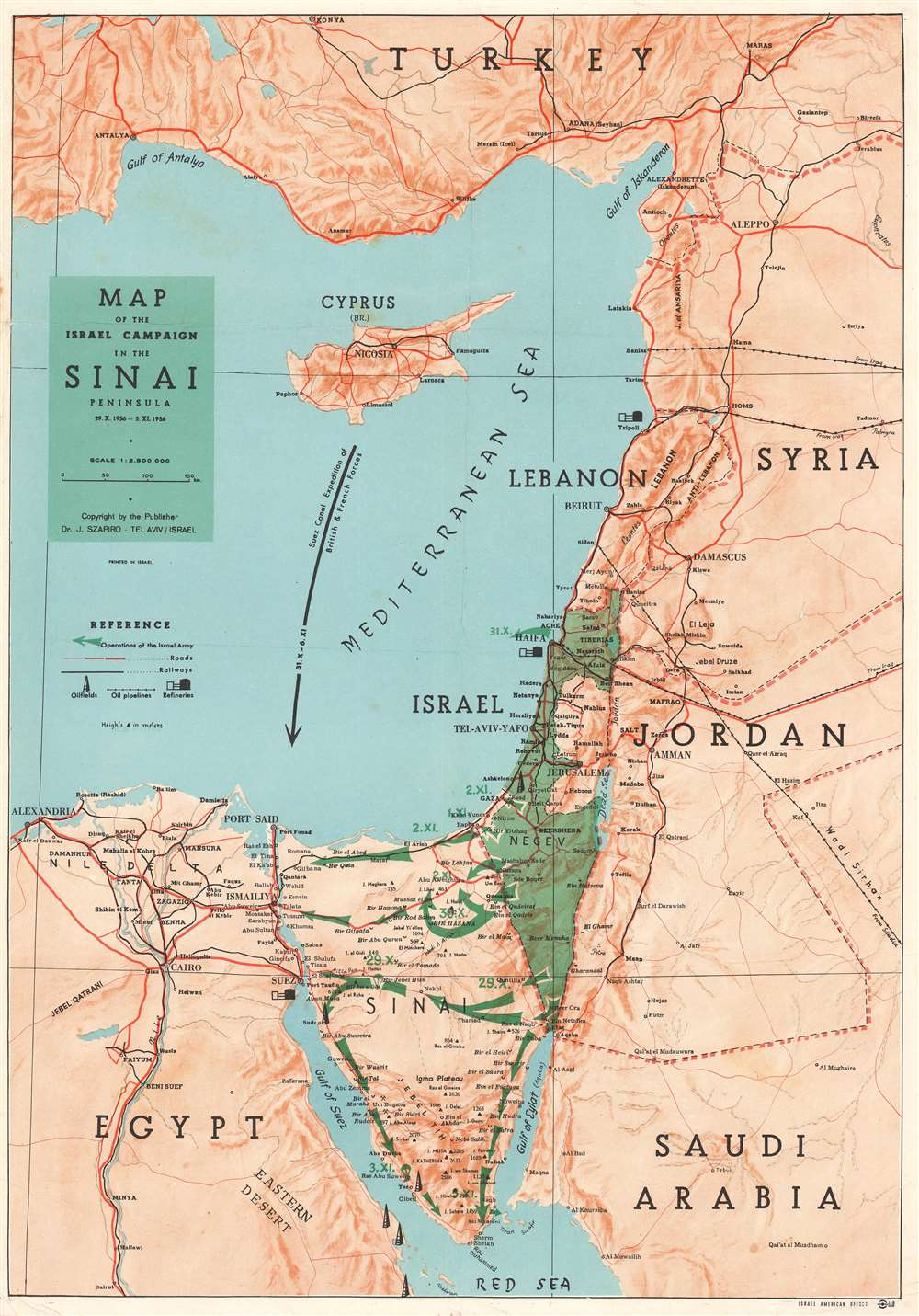 Map of the Israel Campaign in the Sinai Peninsula. - Main View