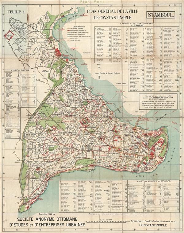 Plan general de la ville de Constantinople. Feuille 1: Stamboul.