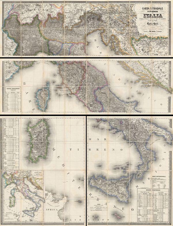 CARTA STRADALE E POSTALE DELL'ITALIA Disegnata secondo le Carte e le Opere più accreditate dei moderni geografi da CARLO CERRI nella proporzione di 1:804,000 del naturale l'anno 1852. - Main View