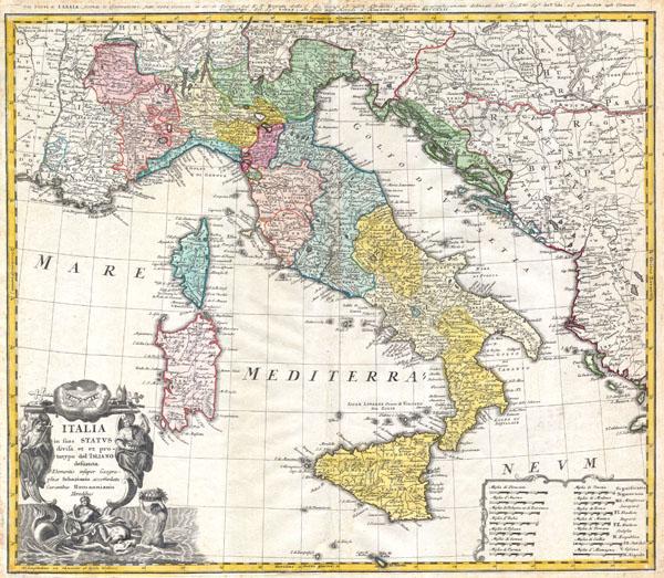 Italia in suos Status divisa et ex prototypo del Isliano desumta Elementis insuper Geographiae Schazianis accomodata Curantibus Homannianis Heredibus.