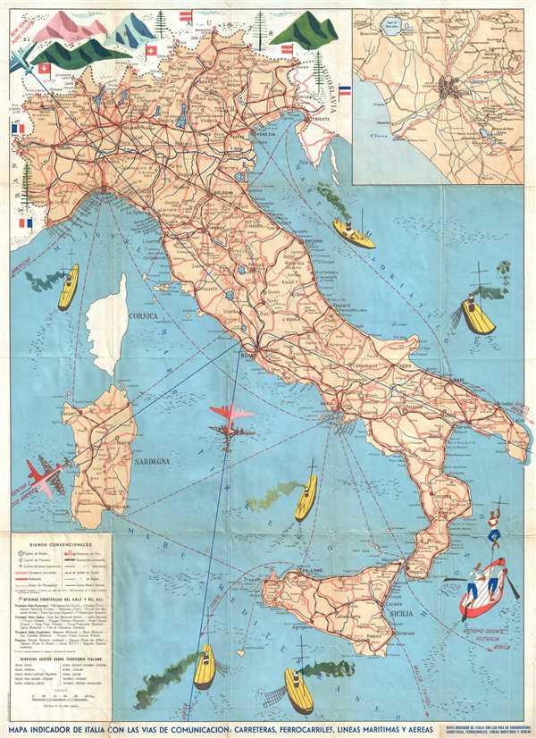 Mapa Indicador de Italia con las Vias de Comunicacion: Carreteras, Ferroarriles, Lineas Maritimas y Aereas.