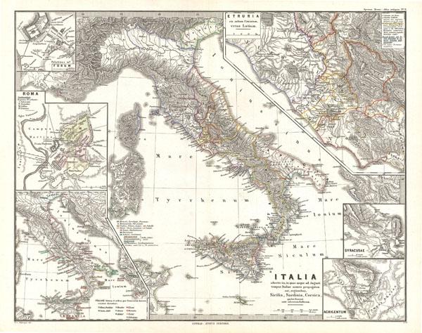 Italia adiectis iis, in quas usque ad Augusti tempus Italiae nomen propagatum est, regionibus, Sicilia, Sardinia, Corsica quales fuerunt ante adventum Gallorum. - Main View