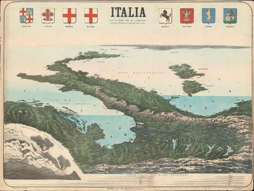 Italia come si presenta nella sua configurazione naturale alla'altezza di circa 20, mille metri. - Main View