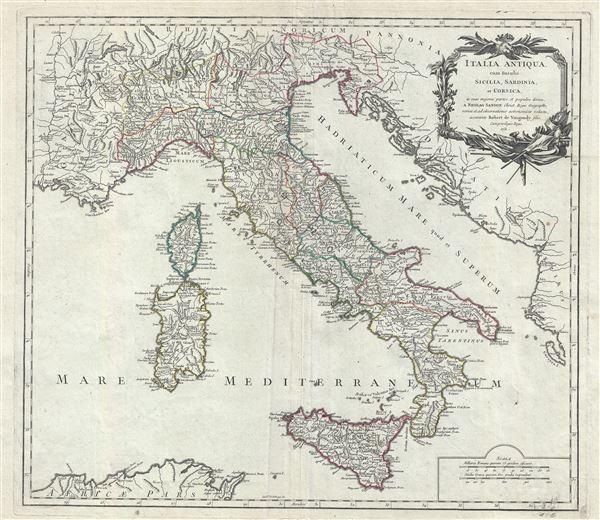 Italia Antiqua, cum Insulis Sicilia, Sardinia, et Corsica, in suas majores partes et populos divisa.
