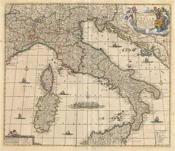 Novissima et Accuratissima totius Italiae, Corsicae et Sardiniae Descriptio Correcta, multis auct Locis et Viis editaque.