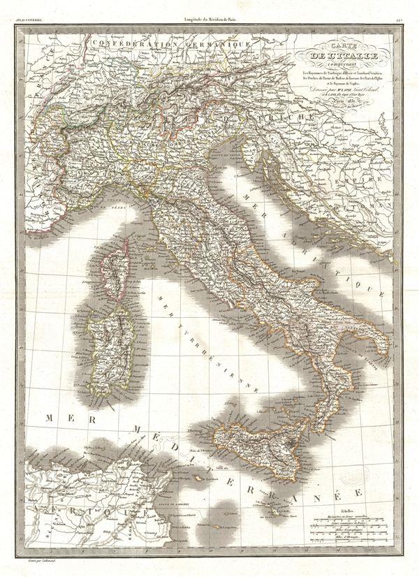 Carte de l'Italie comprenant Les Royaumes de Sardaigne, d'Illyrie et Lombard Venitien, les Duches de Parme, de Modene, de Toscane, les Etats de l'Eglise et le Royaume de Naples.