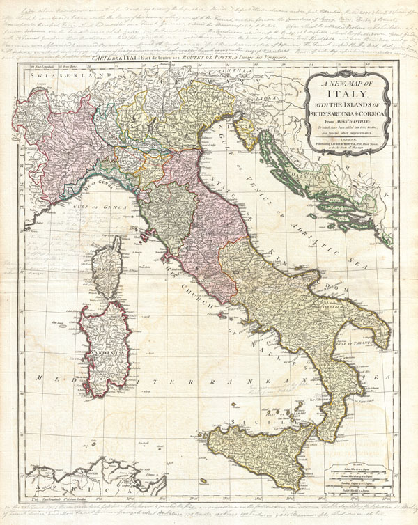 A New Map of Italy with the Islands of Sicily, Sardinia & Corsica. From Monsr. d'Anville: to which have been added the post roads and several other improvements.