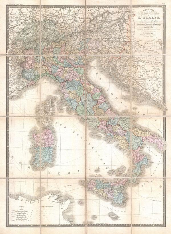 Carte Physique et Politique de L'Italie dela Region des Alpes et des ProvincesAutrichiennes sur L'Adriatique.