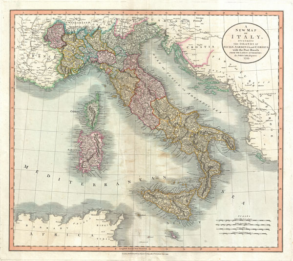 A New Map of Italy, including The Island of Sicily, Sardinia and Corsica with the Post Roads from the latest Authorities.