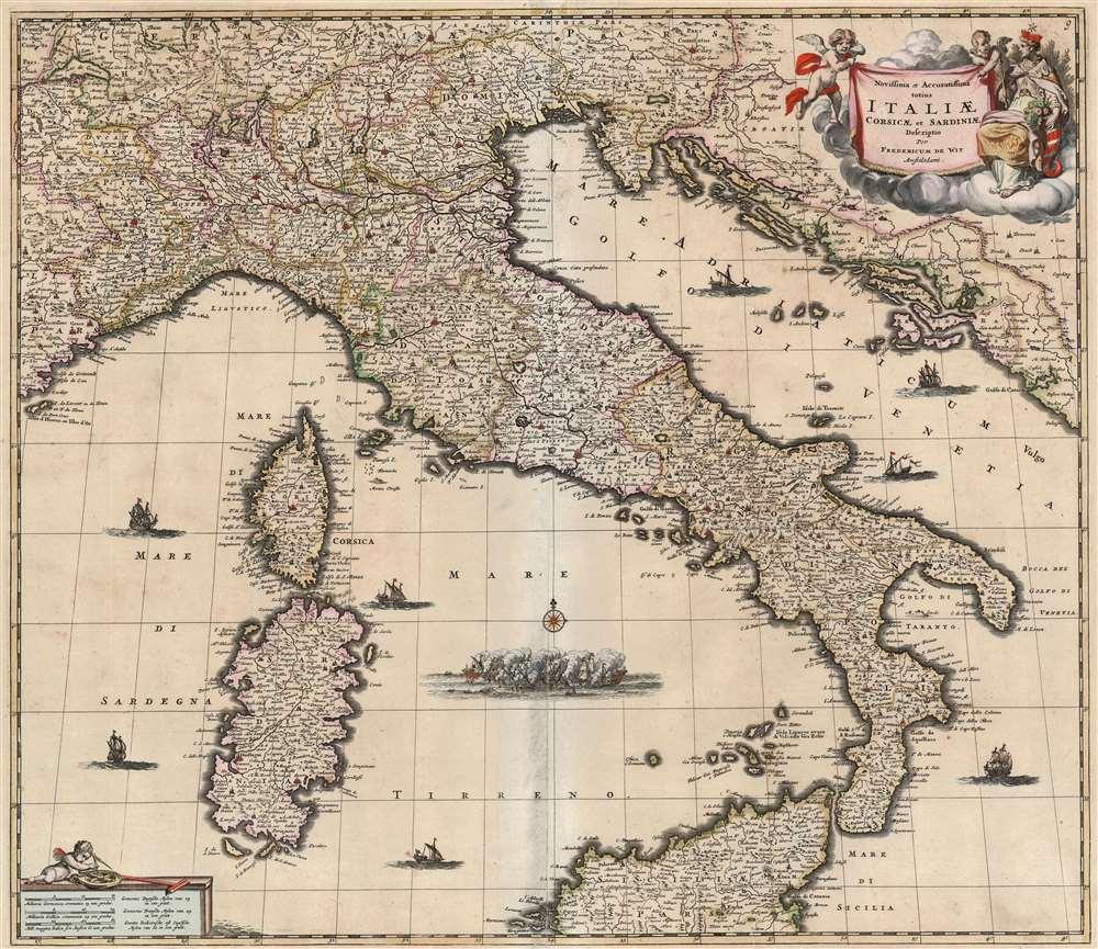 Novissima et Accuratissima totius Italiae, Corsicae et Sardiniae Descriptio Per Fredericum De Wit Amstelodami. - Main View