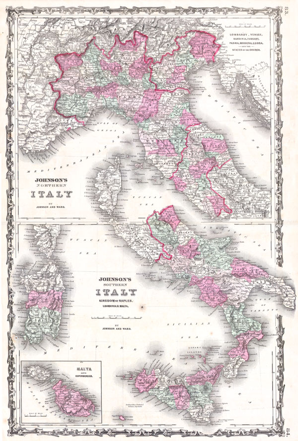 Johnson's Northern Italy, Lombardy, Venice, Sardinia, Tuscany, Parma, Modena, Lucca, and the States of the Church. / Johnson's Southern Italy, Kingdom of Naples, I. Sardinia & Malta. - Main View