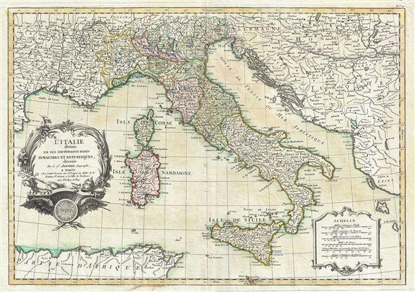l'Italie divisee en ses Differents Etats Royaumes et Republiques.