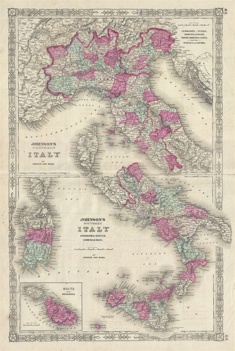 Johnson's Northern Italy.  Johnson's Southern Italy Kingdom of Naples, I. Sardinia & Malta.