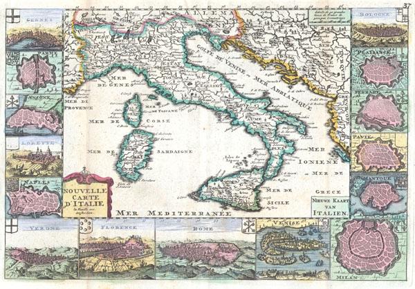 Nouvelle Carte D'Itlaie / Nieuwe Kaart van Italien.