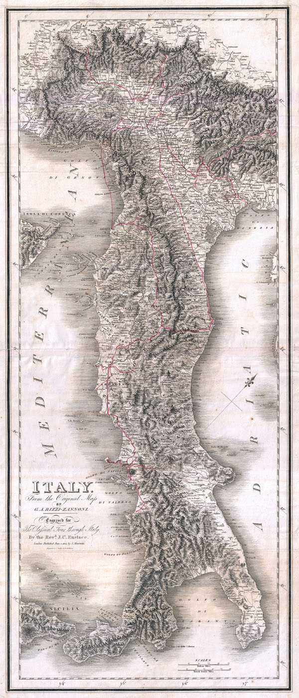 Italy from the Original Map by G. A. Rizzi-Zannoni.