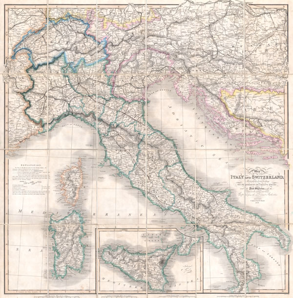 Map of Italy and Switzerland Particularly distinguishing the Different Travelling Roads and the Post Stations; with the number of posts between each Station.  Compiled from the most recent Authorities.