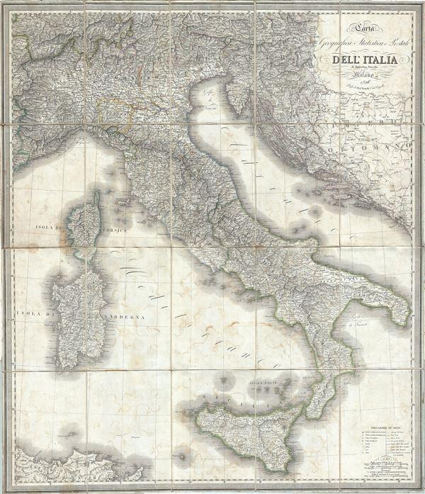 Carta Geografica, Statistica e Postale Dell'Italia.