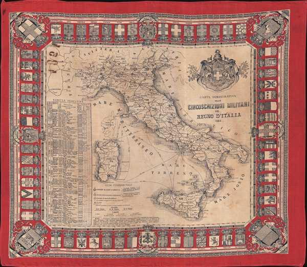 Carta Dimostrativa delle Circoscrizioni Militari del Regno D'Italia.