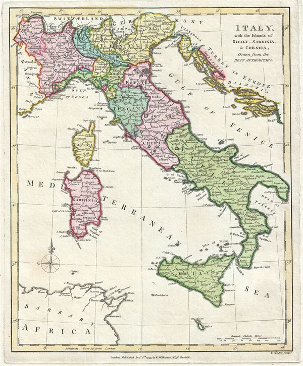 Italy with the Islands of Sicily Sardinia and Corsica Drawn from