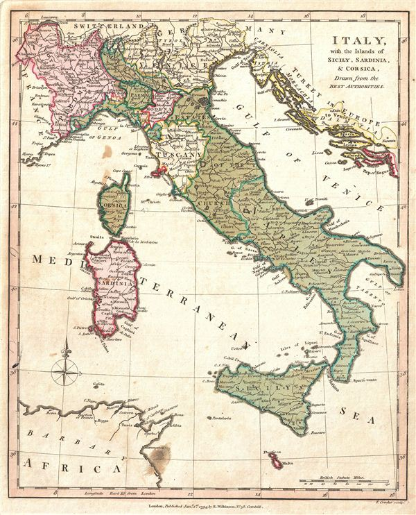 Italy, with the Islands of Sicily, Sardinia, & Corsica, Drawn from the Best Authorities.