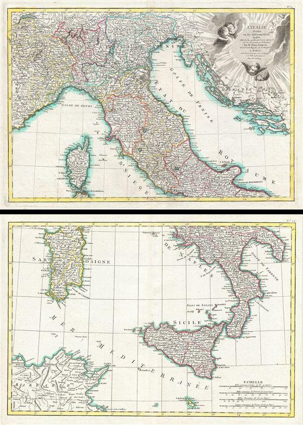 L'Italie divisee en ses differens Etats dress d'apres les meilleurs Cartes appuyee sur les Observations Astromom'.
