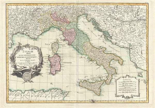 l'Italie divisée en ses Differents Etats Royaumes et Republiques.