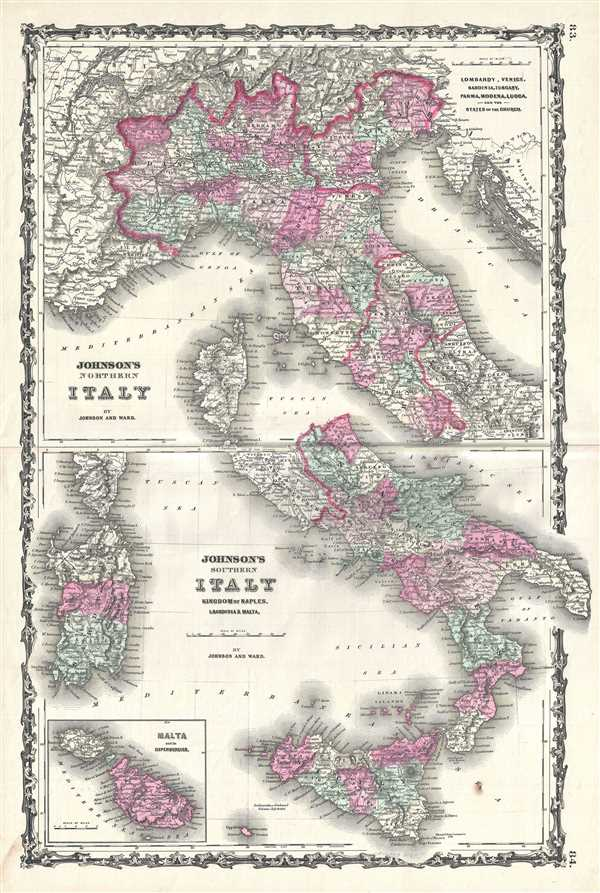 Johnson's Northern Italy. Johnson's Southern Italy Kingdom of Naples, I. Sardinia and Malta.