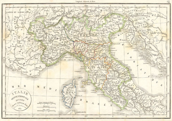 1832 Delamarche Map of Northern Italy and Corsica