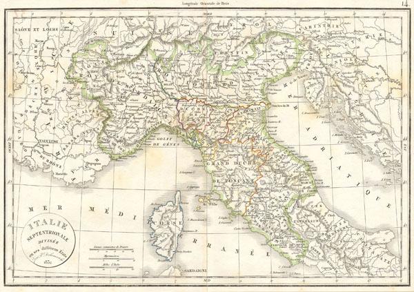 Italie Septentrionale Divisee en ses differens Etats.