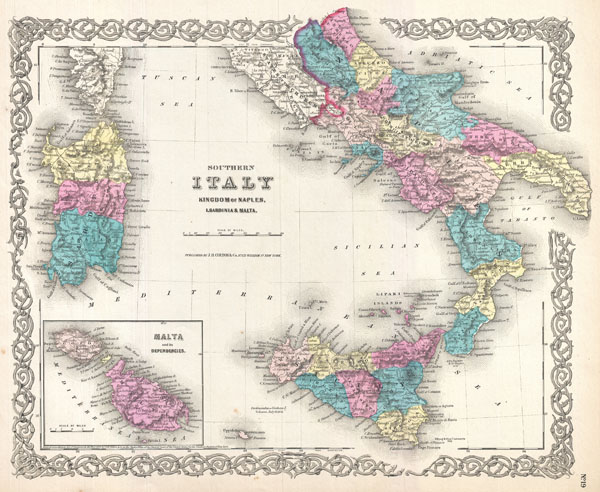 Southern Italy Kingdom of Naples, I. Sardinia & Malta. - Main View