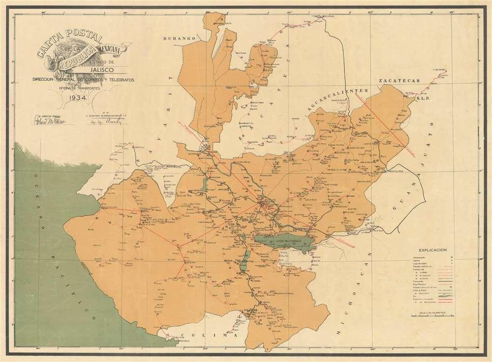 Carta Postal de la Republica Mexicana Estado de Jalisco. - Main View