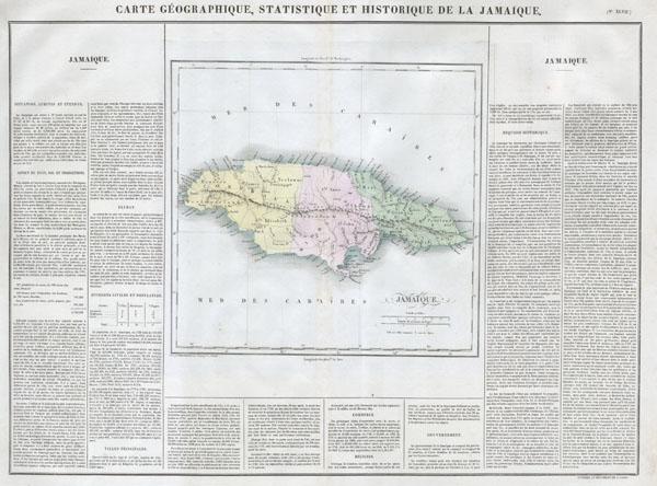Carte Geographique, Statistique et Historique de la Jamaique.