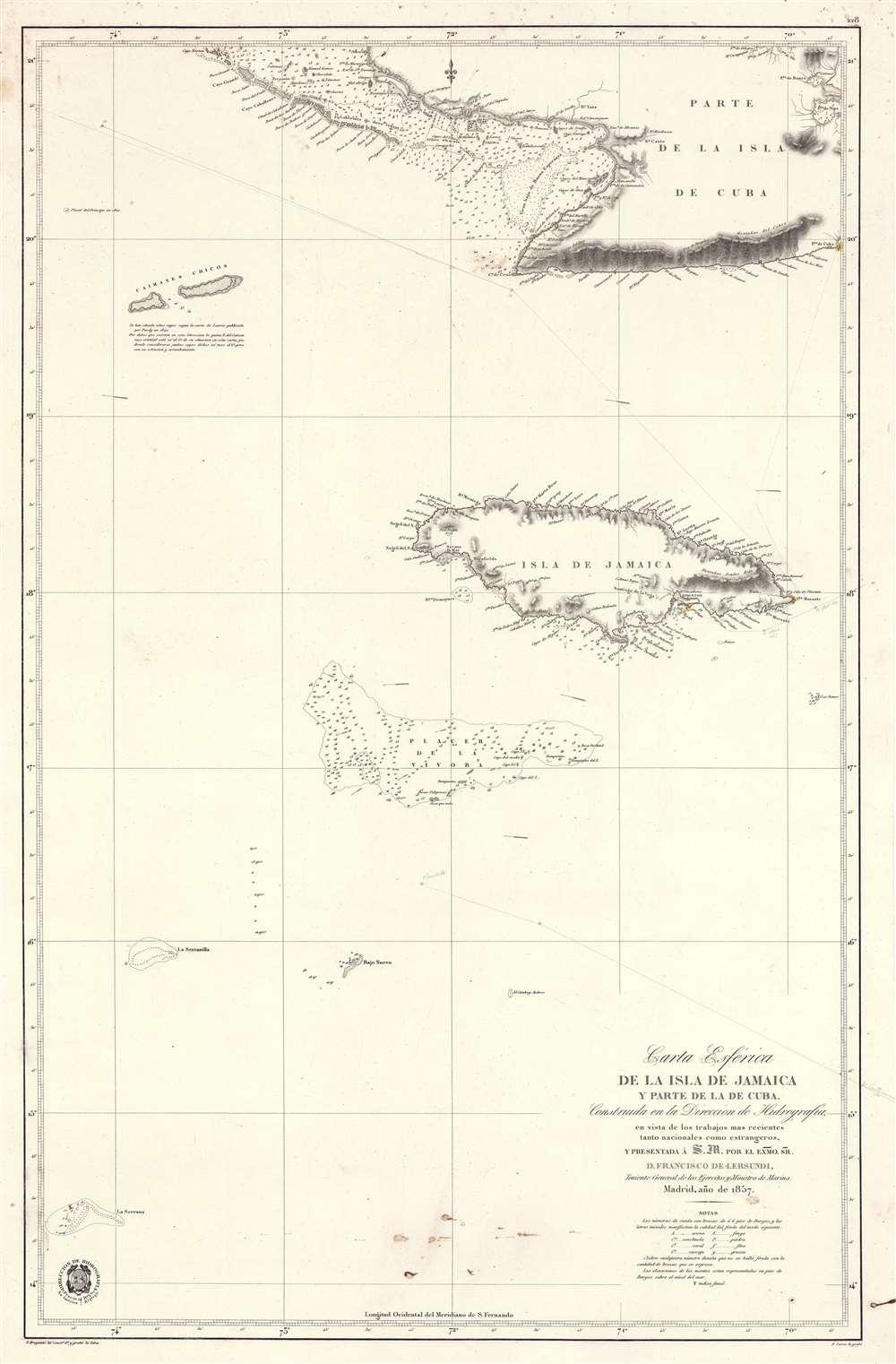 Carta Esférica de la Isla de Jamaica y Parte de la de Cuba. - Main View