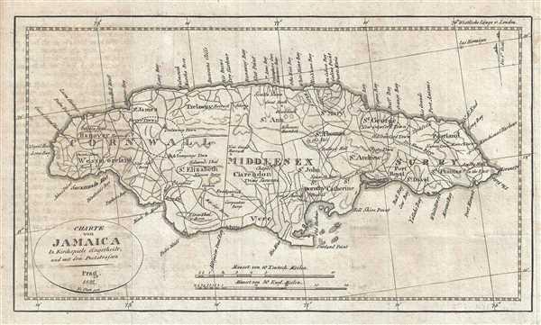Charte von Jamaica.: Geographicus Rare Antique Maps