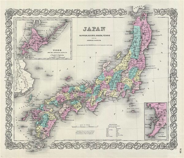 Japan Nippon, Kiusiu, Sikok, Yesso and the Japanese Kuriles. - Main View