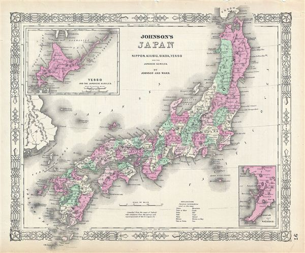 Johnson's Japan, Nippon, Kiusiu, Sikok, Yesso and the Japanese Kuriles.