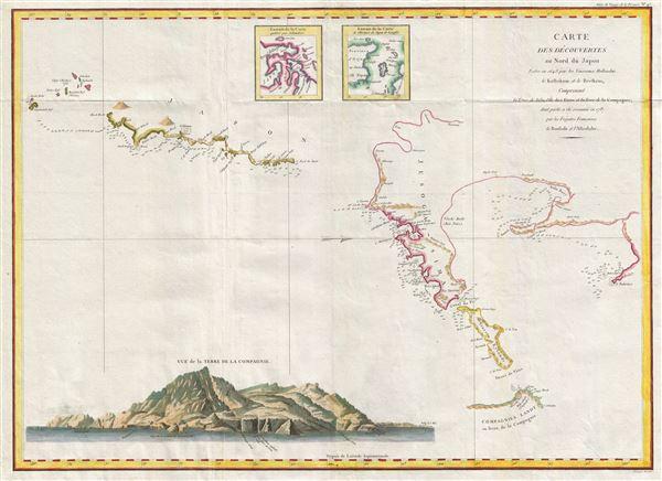 Carte des decouvertes au nord du Japon. Faites en 1643 par les Vaisseaux Hollandais le Kastrikum et le Breskens, comprenant la Terre de Jeso, l'Ile des Etats et la Terre de la Compagnie, dont partie a ete reconnue en 1787 par les Fregates Francaises la Boussole et l'Astrolabe.