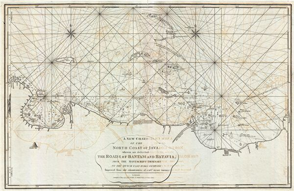 A New Chart of the North Coast of Java, wherein are described The Roads of Bantam and Batavia, from the Manuscript Draught of the Dutch East India Company.