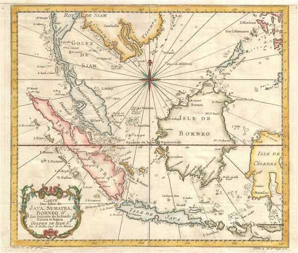 Carte des Isles de Java, Sumatra, Borneo & les détroits de la Sonde Malaca et Banca Golphe de Siam.